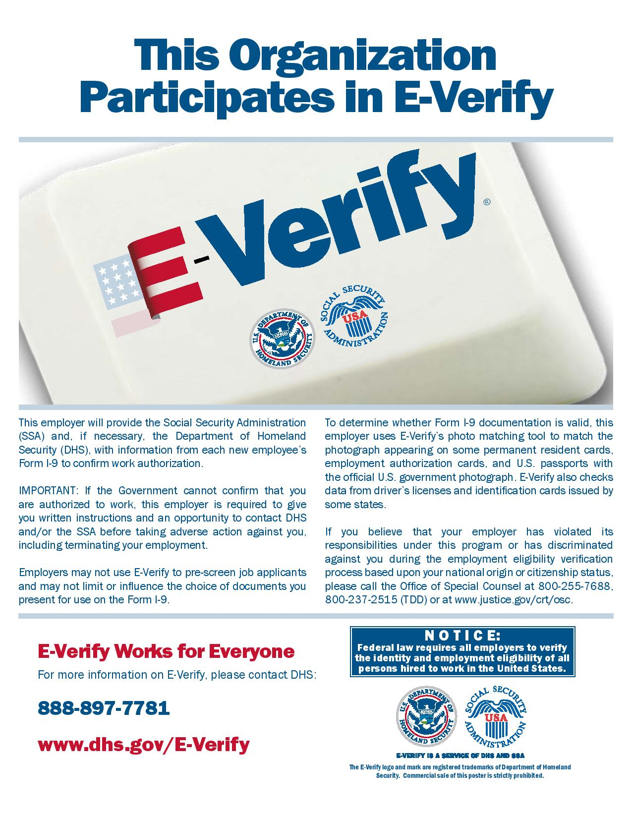 E-Verify Participation Poster