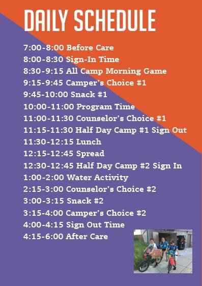 2018 camp schedule